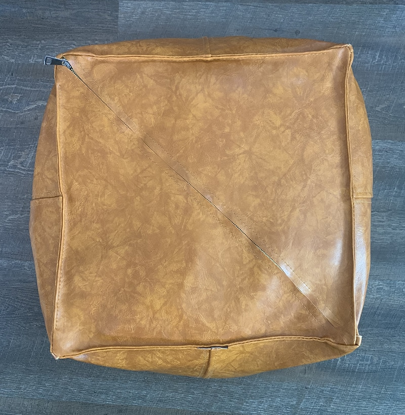 Bottom of Faux Leather Ottoman