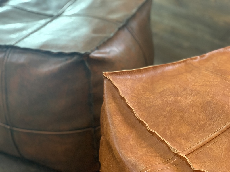 The easy way to darken faux leather poufs