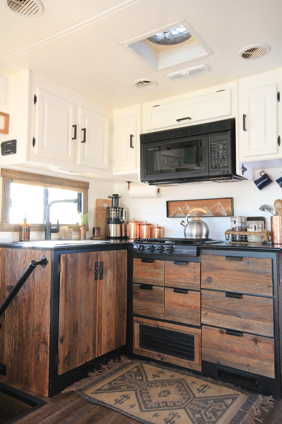Updating our RV with Reclaimed Wood Kitchen Cabinets