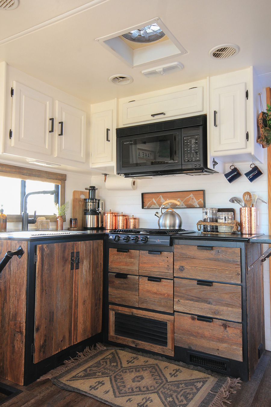 Reclaimed Wood Kitchen Cabinets in RV
