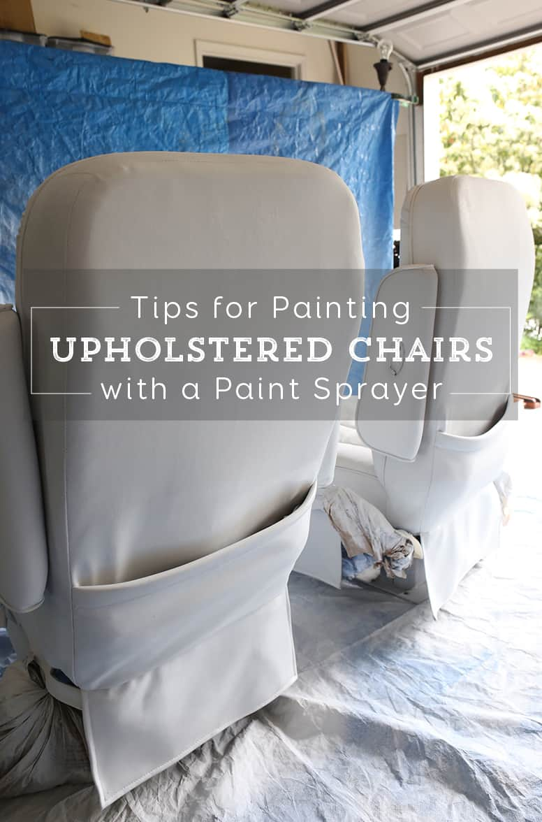Thinking about painting vinyl or simulated leather furniture? Before you do be sure to check out this post with tips for painting an upholstered chair with a paint sprayer | MountainModernLife.com