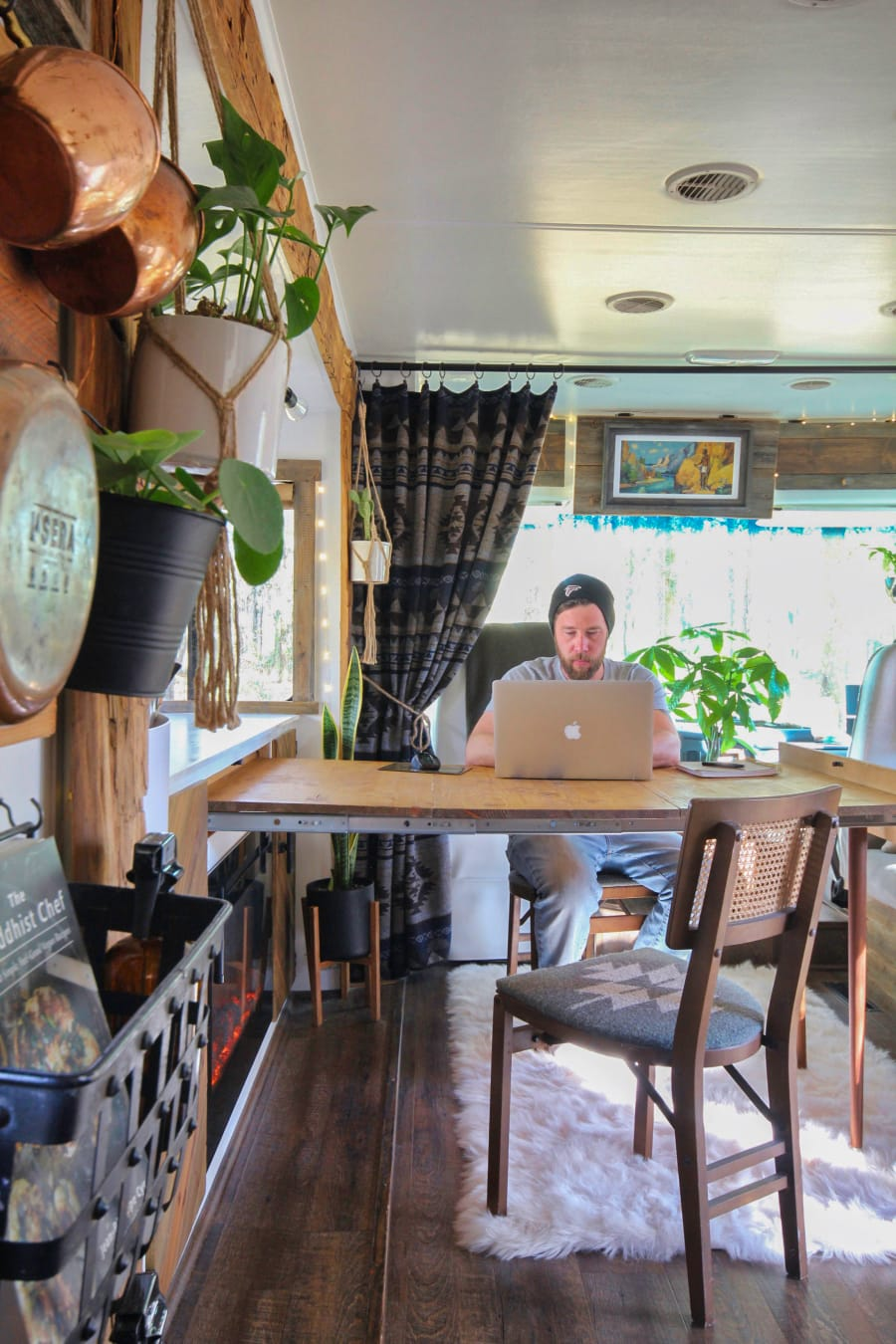 expanding desk inside RV