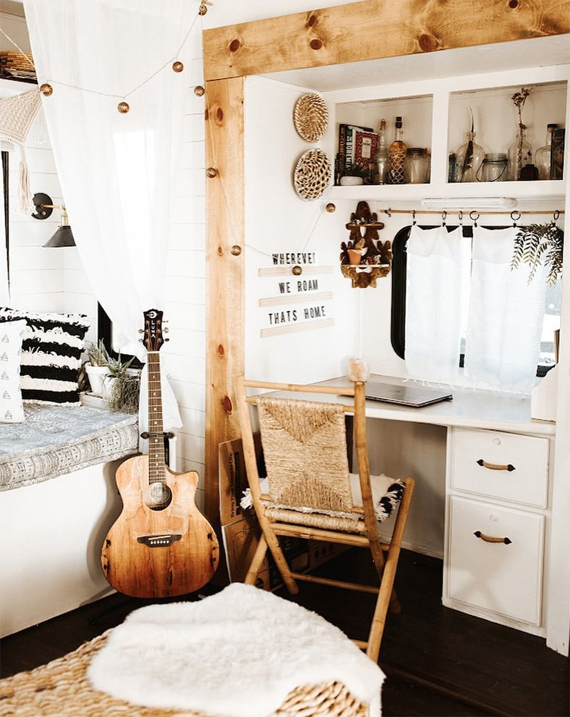 boho rv office setup