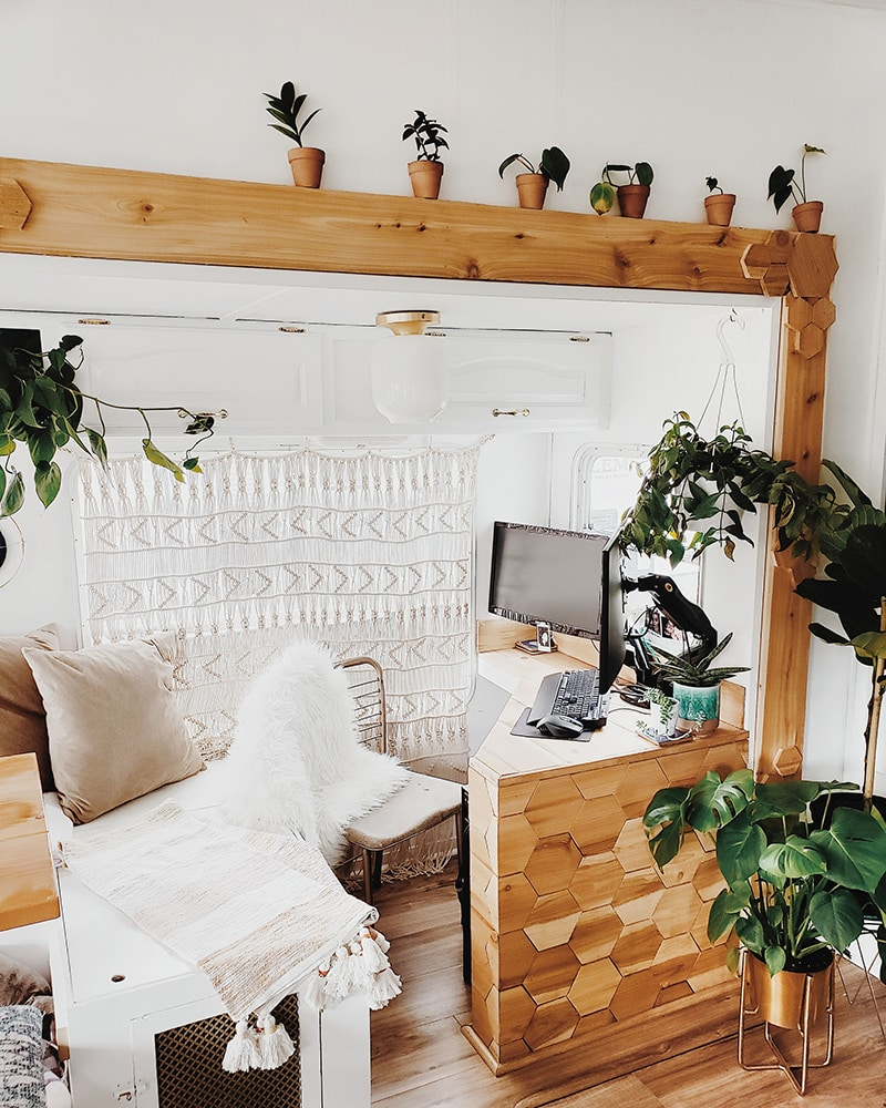 boho rv office design