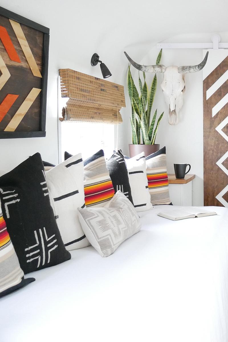 Pendleton pillows inside renovated vintage camper