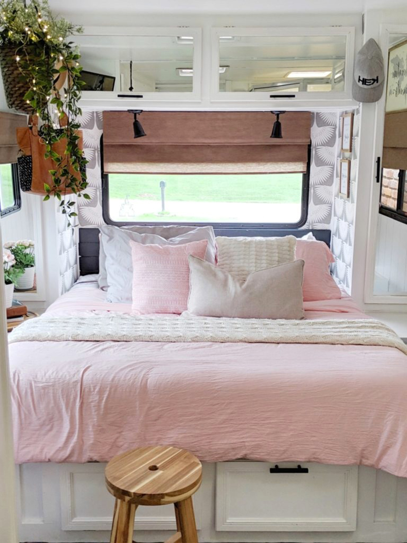 White and Pink RV Bedroom Makeover