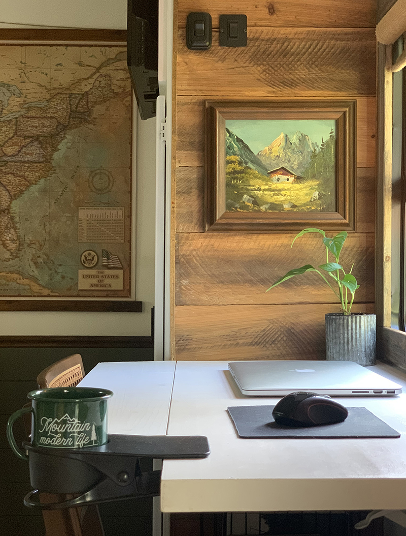 DIY modular desk inside rustic RV