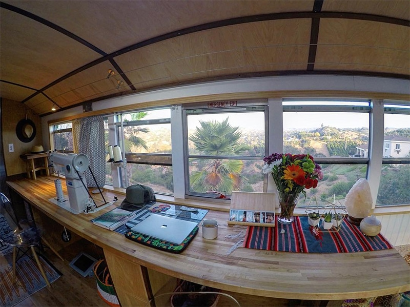 Sewing Studio inside bus conversion