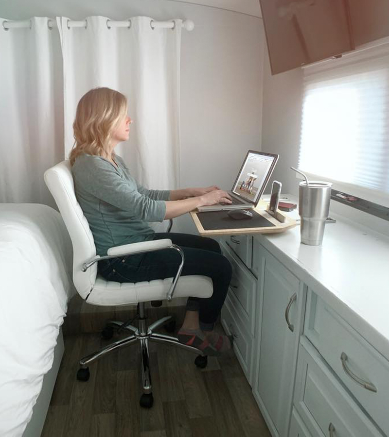 Desk on drawer slides in RV