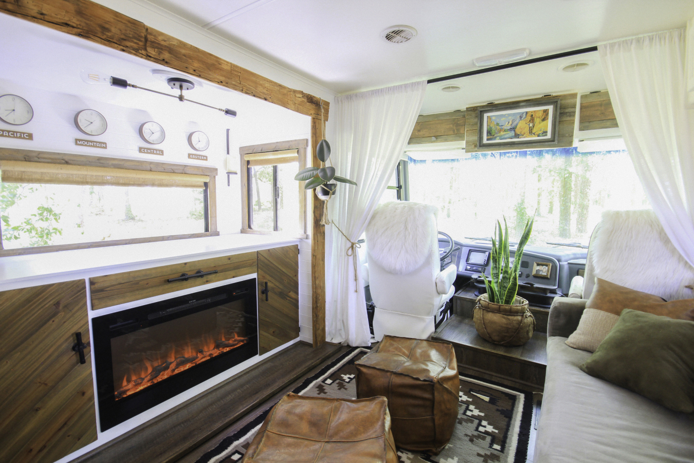 rv with navajo style rug