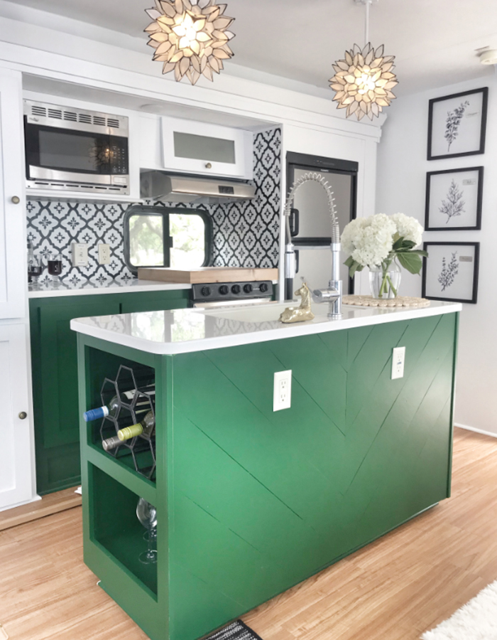 5th Wheel Kitchen Renovation with green cabinets