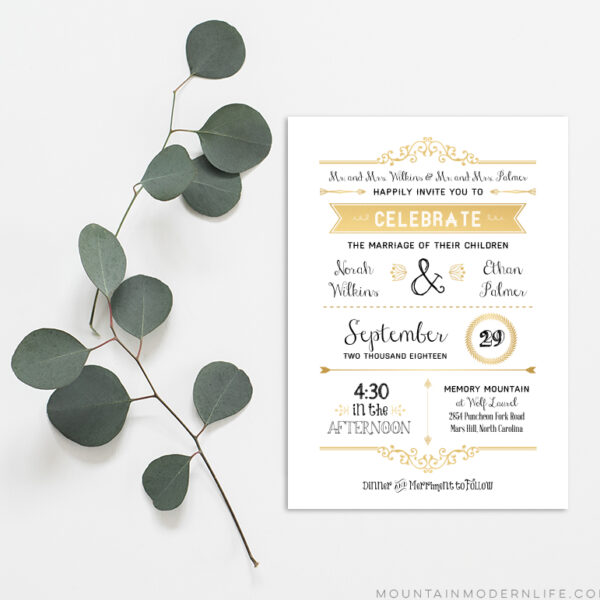 diy gold wedding invitation