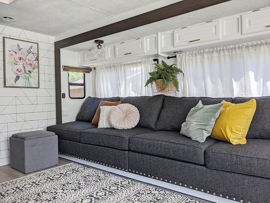 Renovated motorhome with large sofa