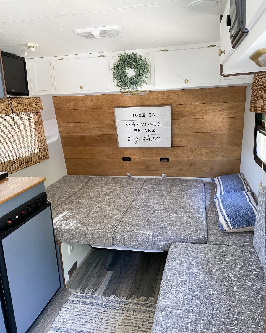 camper renovation with reupholstered cushions