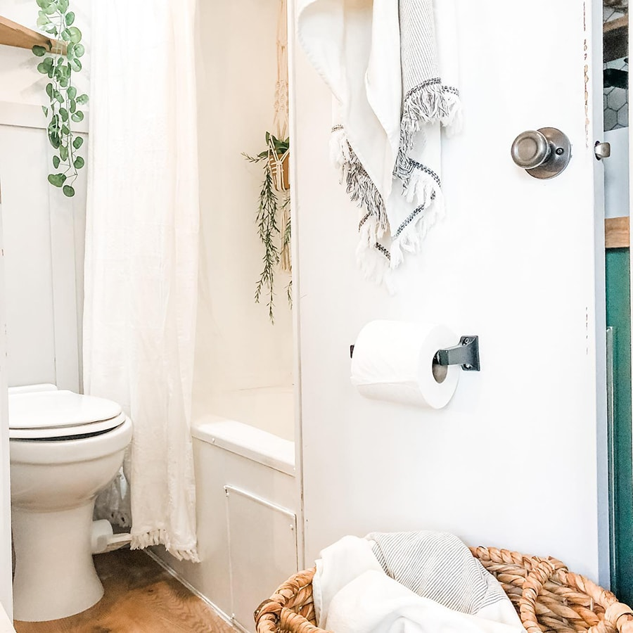 modern bathroom remodel inside RV