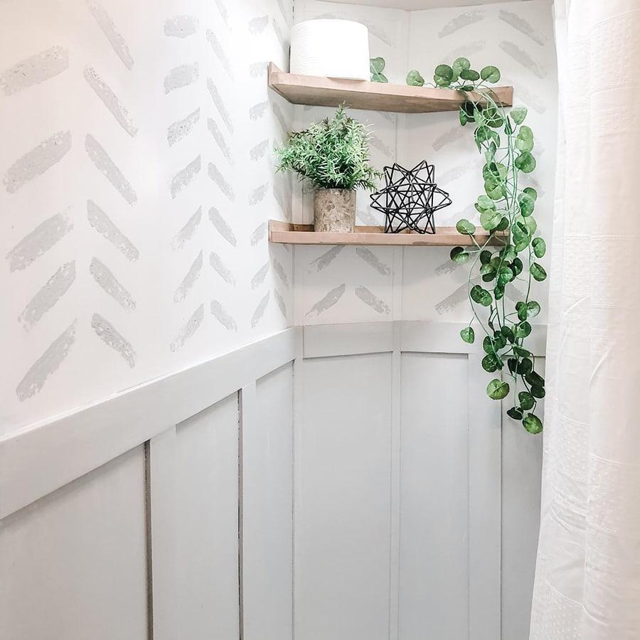 Wall treatment on RV bathroom wall