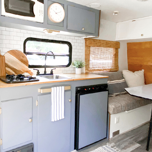 camper with gray cabinets