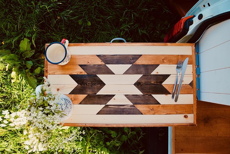 rustic DIY table built for camper van