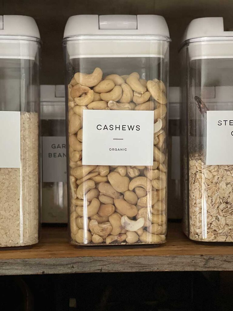 labeled cashew container