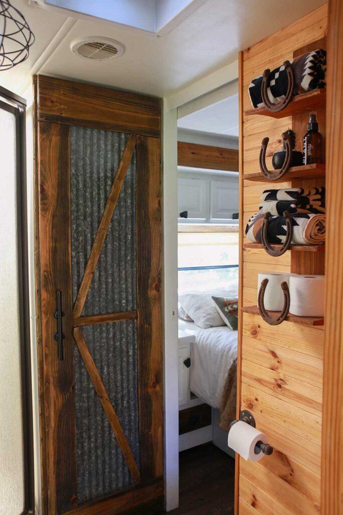 corrugated bathroom door
