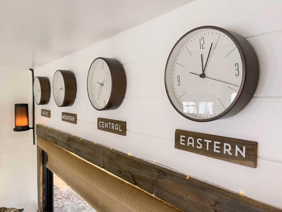 time zone clocks inside RV