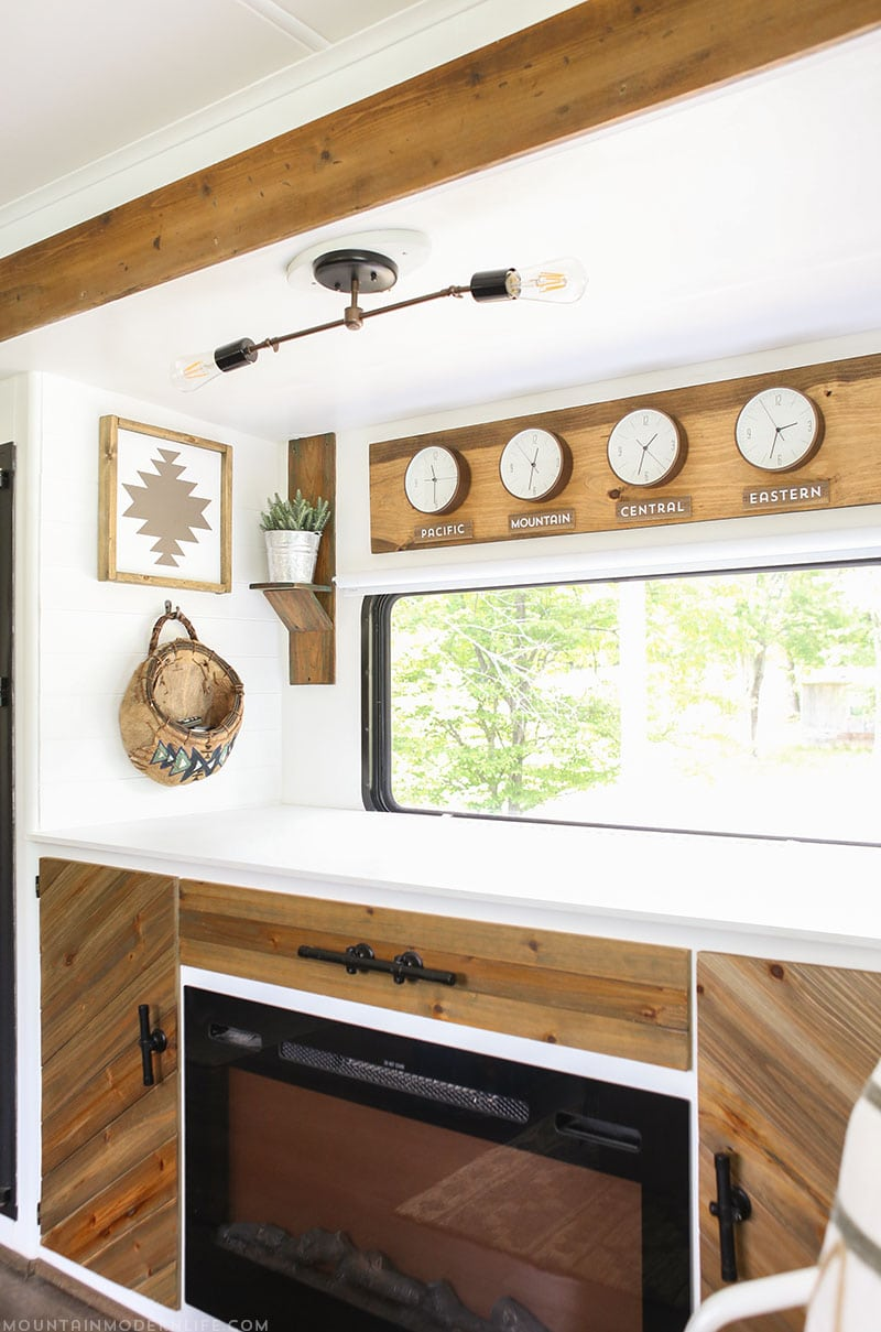 Rustic Time Zone Clocks in RV | MountainModernLife.com
